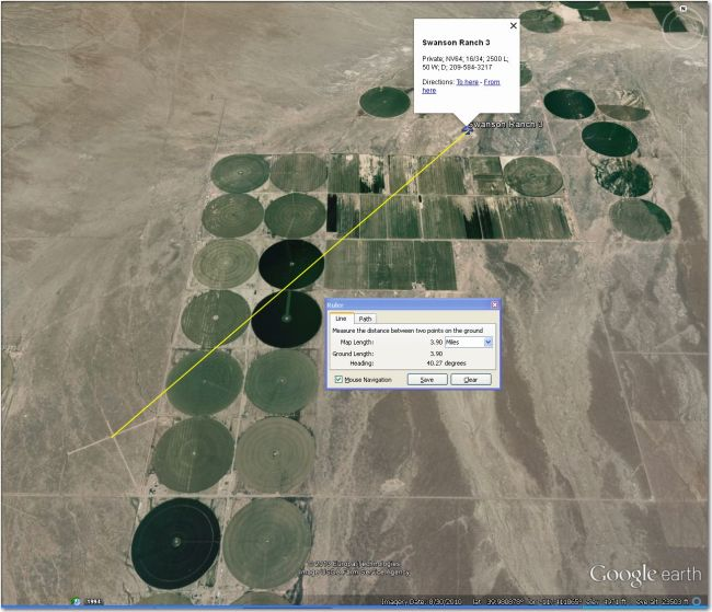 Airstrip is 4 mi SW of the waypoint symbol