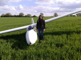 Elina landed the Ka 8 safely in a field