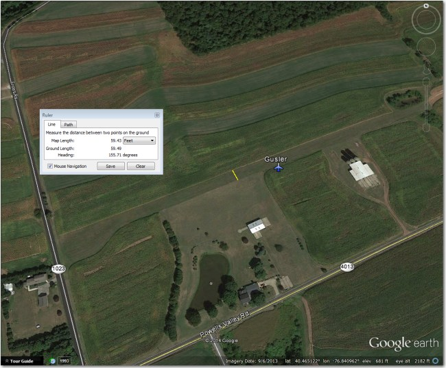 Gusler Airstrip.  Too narrow for 18m, but OK when crops are low.