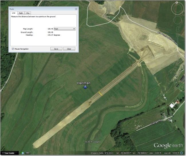 Hartman Airstrip.  Heavy construction activity shown in 9/2013 image.  Consider unusable until confirmed otherwise