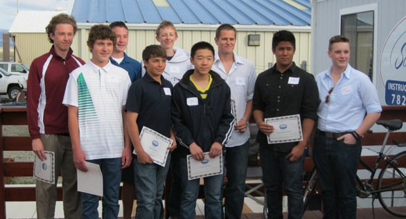 Left to right: Donovan Harrison, Max Richman, Steven Earle, Tyler Black, Grant Swift, Vincent Wang, Spencer DeBerry, John Legaspina, and last year's recipient, Zack Fisher