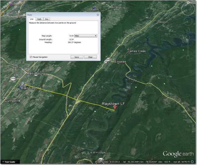Raystown Dam LF:  About 6 mi east of Blair County, on a direct line from the airport to the Raystown Dam ridge