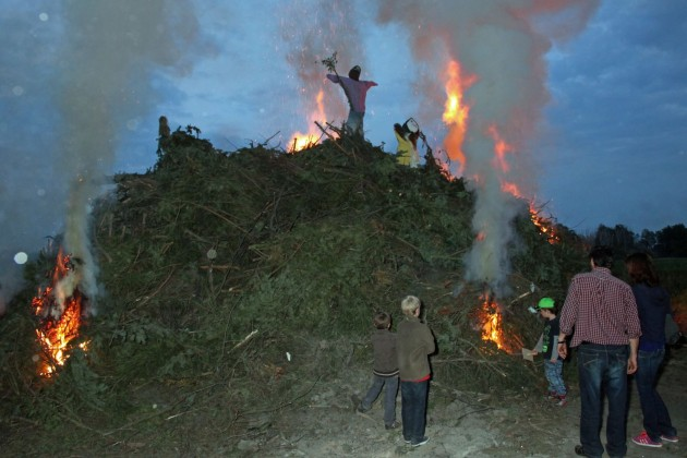 -burning witches- an ancient habbit in this part of Germany. Now a days the witches are made of carton.