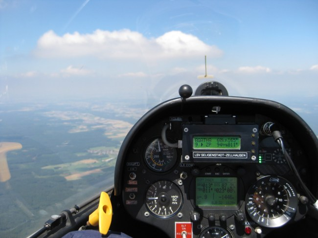 Cokpit of a club glider. Navigation? Yes, but.
