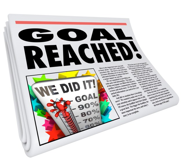 Goal Reached Newspaper Headline Article 100 Percent Success