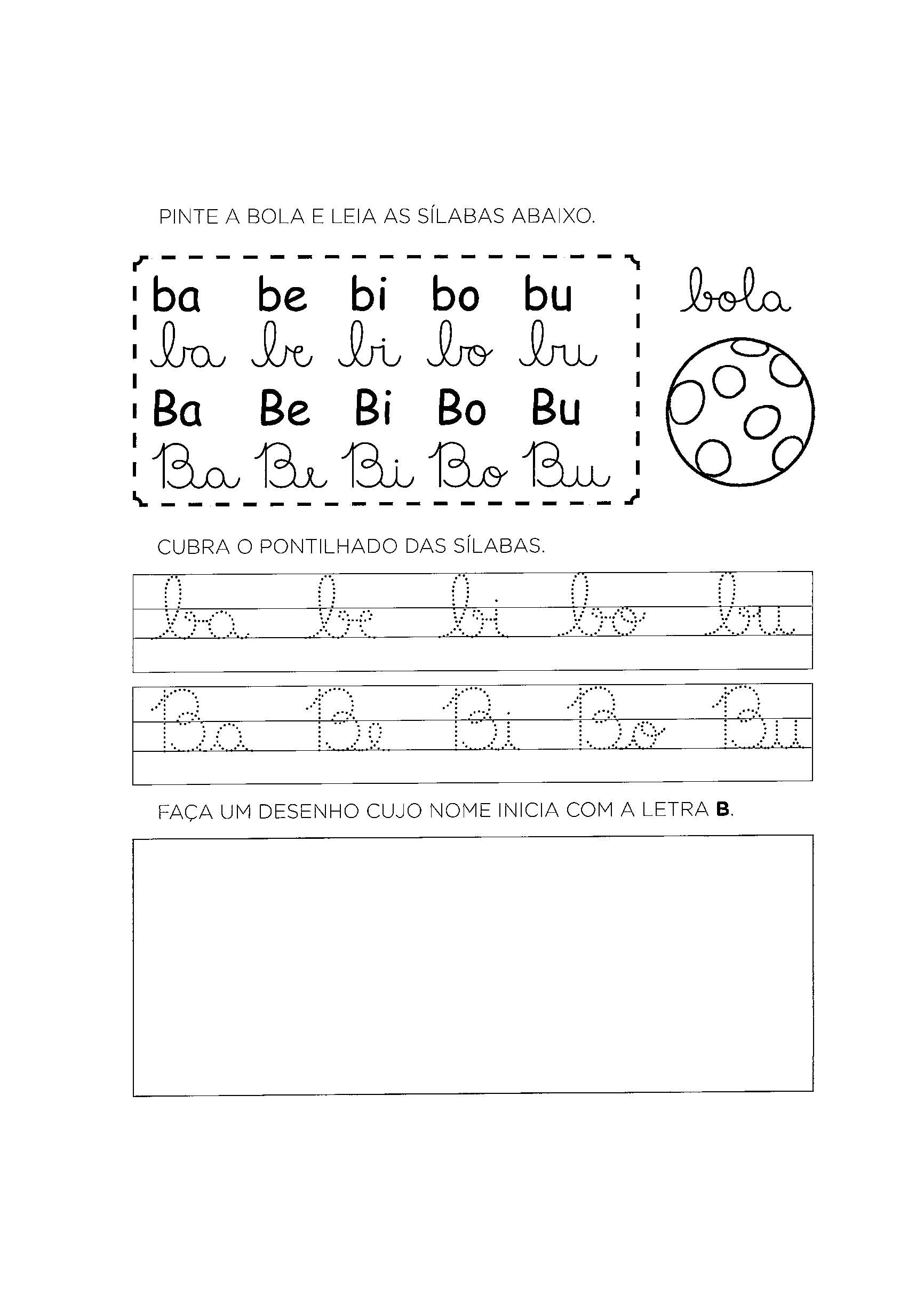 Atividades com a Letra B para alfabetizao  S Atividades
