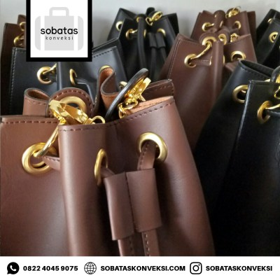 PRODUKSI MASAL BUCKET BAG BAHAN LEATHER PREMIUM