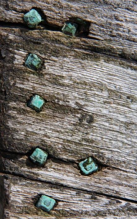 Verdigris on old square nails. Copyright Fiona Michie.