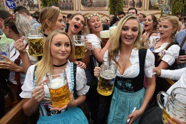 Oktoberfest One Liter Beers & Cleavage