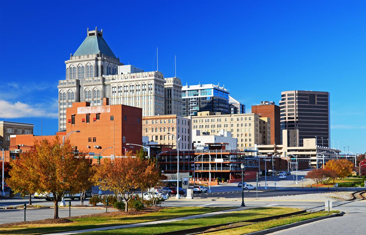Greensboro downtown skyline at Autumn.