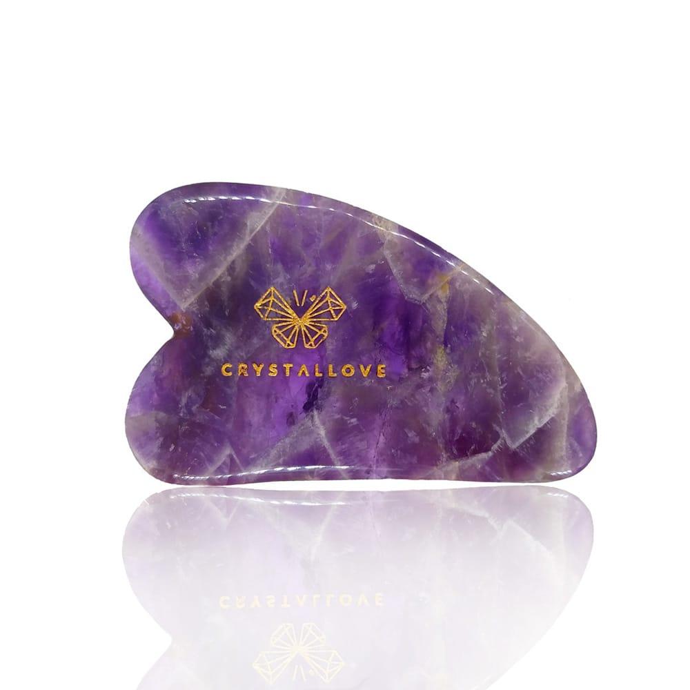 CRYSTALLOVE Guasha płytka do masażu twarzy gua sha z Ametystu | SoBio Beauty Boutique