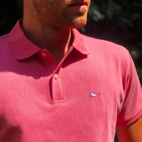 Polo homme rose sobo, écoresponsable et made in France.