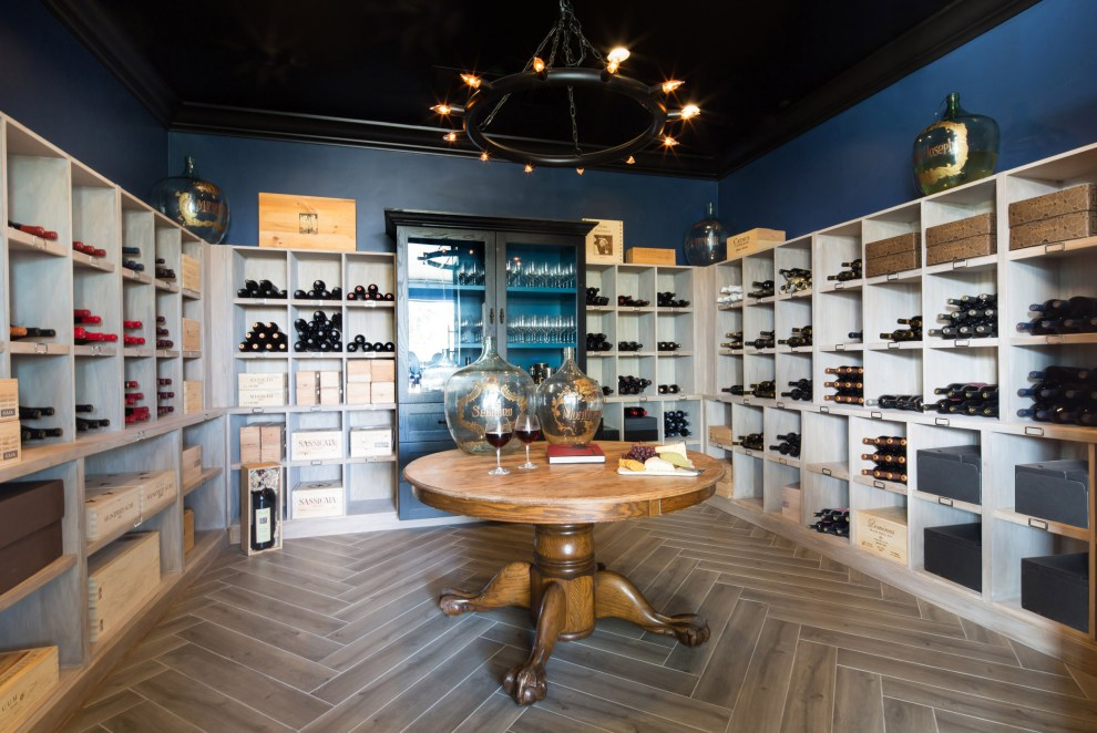 Herringbone wood flooring in wine cellar