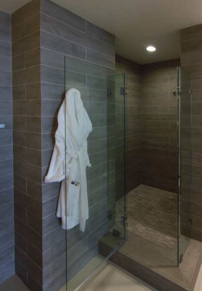 Matching grout and tile color in Modern Beach House Bathroom