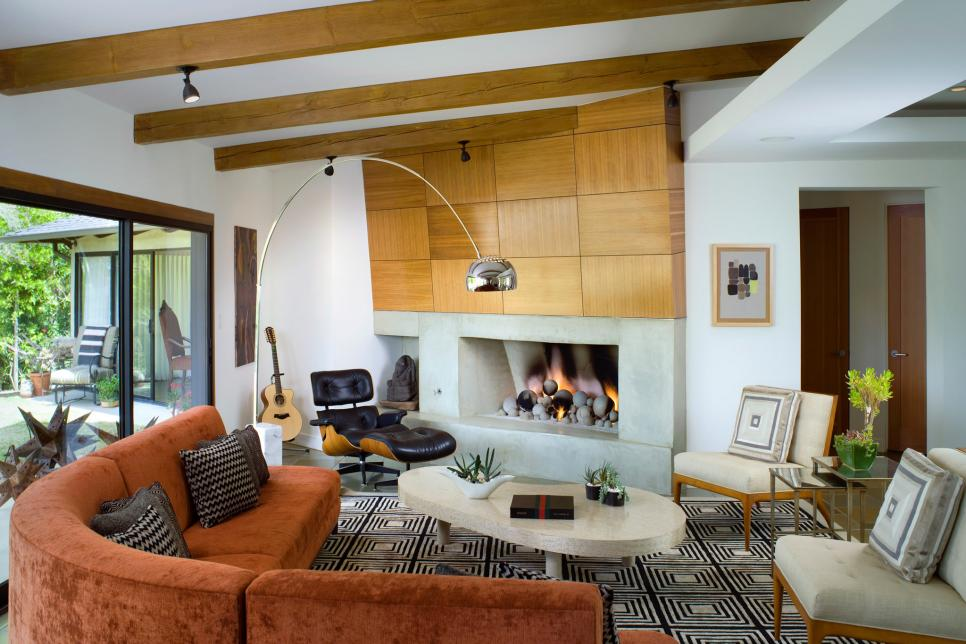 woven wooden wall above fireplace lori dennis los angeles home