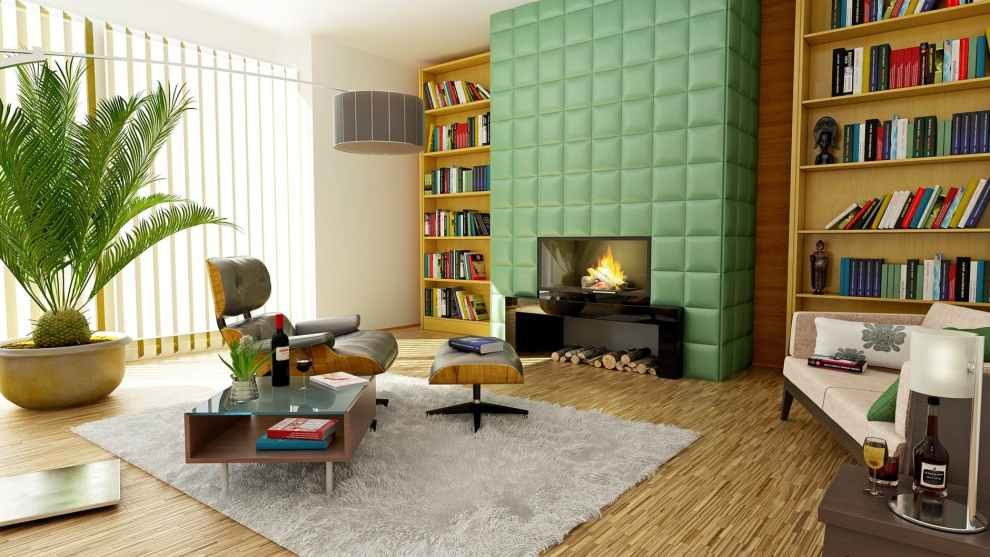 retro colorful fireplace