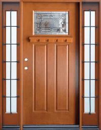 FM300 Medium Walnut Single Exterior Fiberglass Door Two