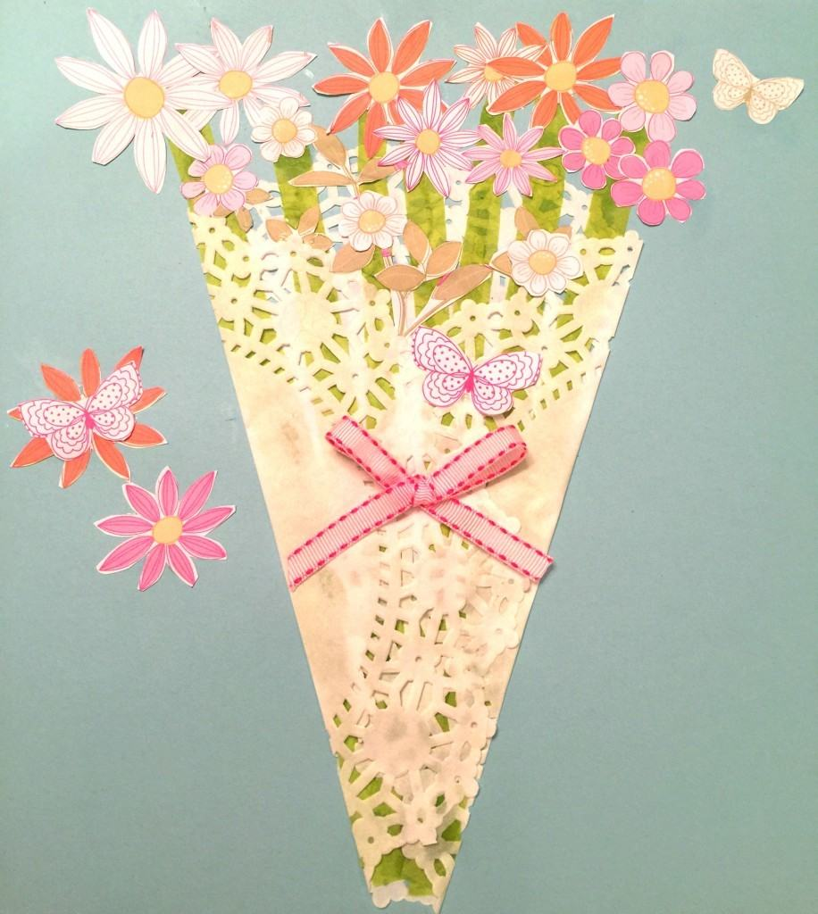 Make this very easy Mother's Day Paper Flower Craft! All you need is a dolie, craft paper, white glue, scissors and ribbon.
