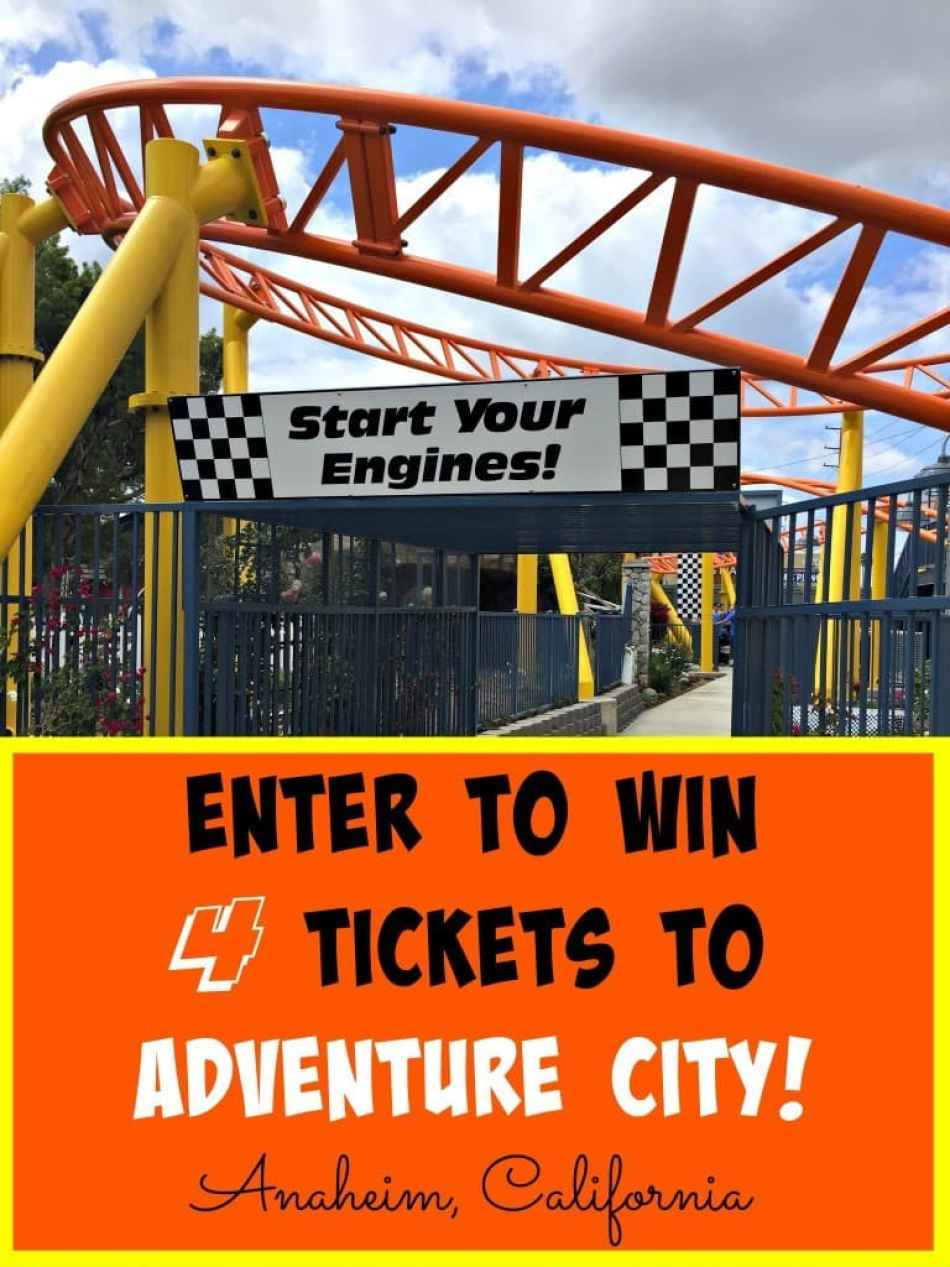 Enter to win 4 tickets to Adventure City, the little theme park that is big on fun, located in Stanton, California for a preview of their new roller coaster, Rewind Racers!