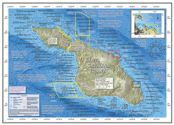 Fishing and diving map of Catalina Island