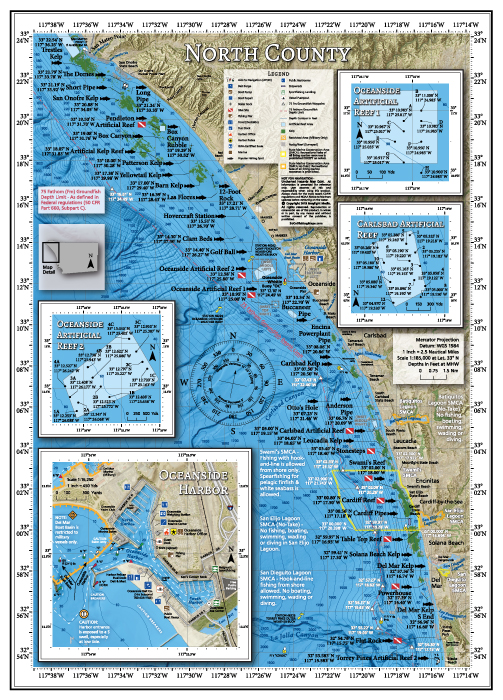Fishing and diving map of San Diego's North County coastline.