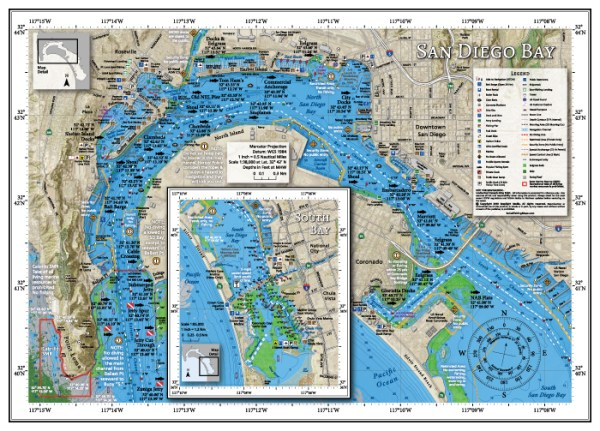 San Diego Bay boating, fishing and diving map.
