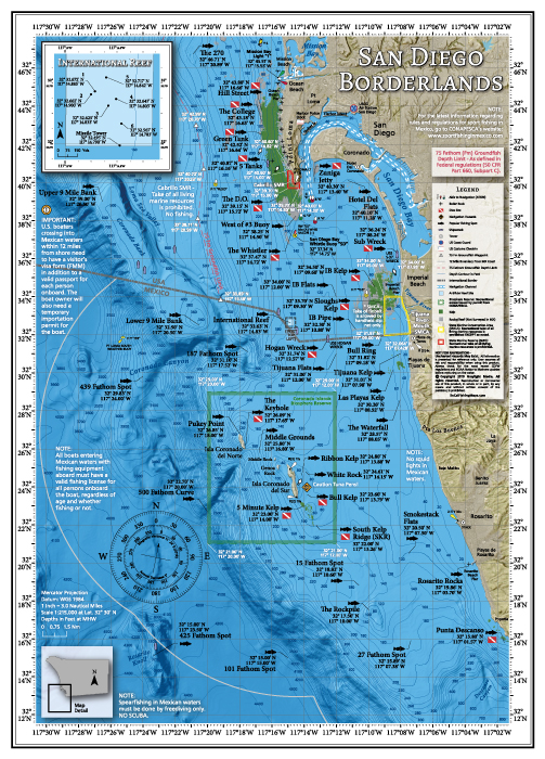 Fishing and diving map of San Diego's border region.