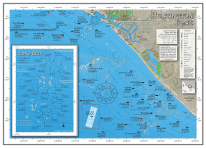 Fishing map of Huntington Flats and Izor's Reef off the coast of Orange County, California