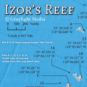 Close-up of Izor's Reef fishing map
