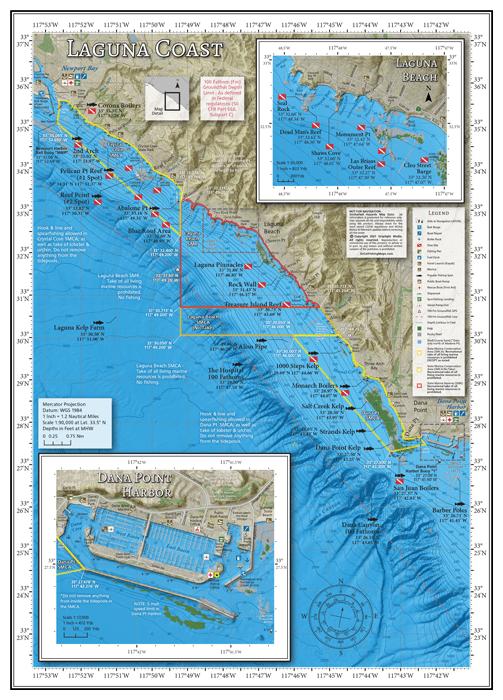 Fishing map of the Laguna Coast of Orange County, California