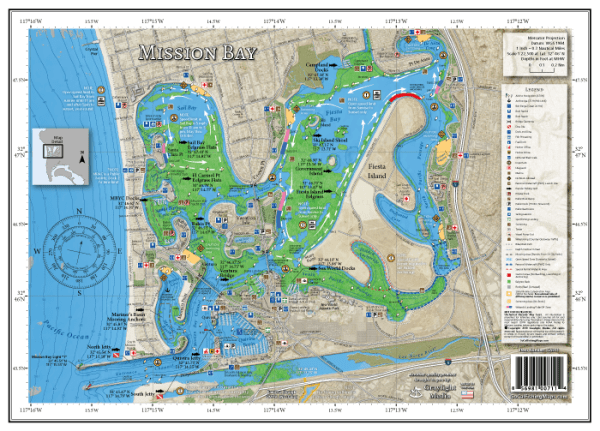 Map of San Diego's Mission Bay with popular fishing spots and local boating knowledge
