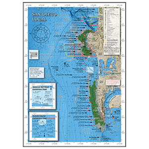 Map of popular fishing spots at the La Jolla and Pt Loma kelp beds