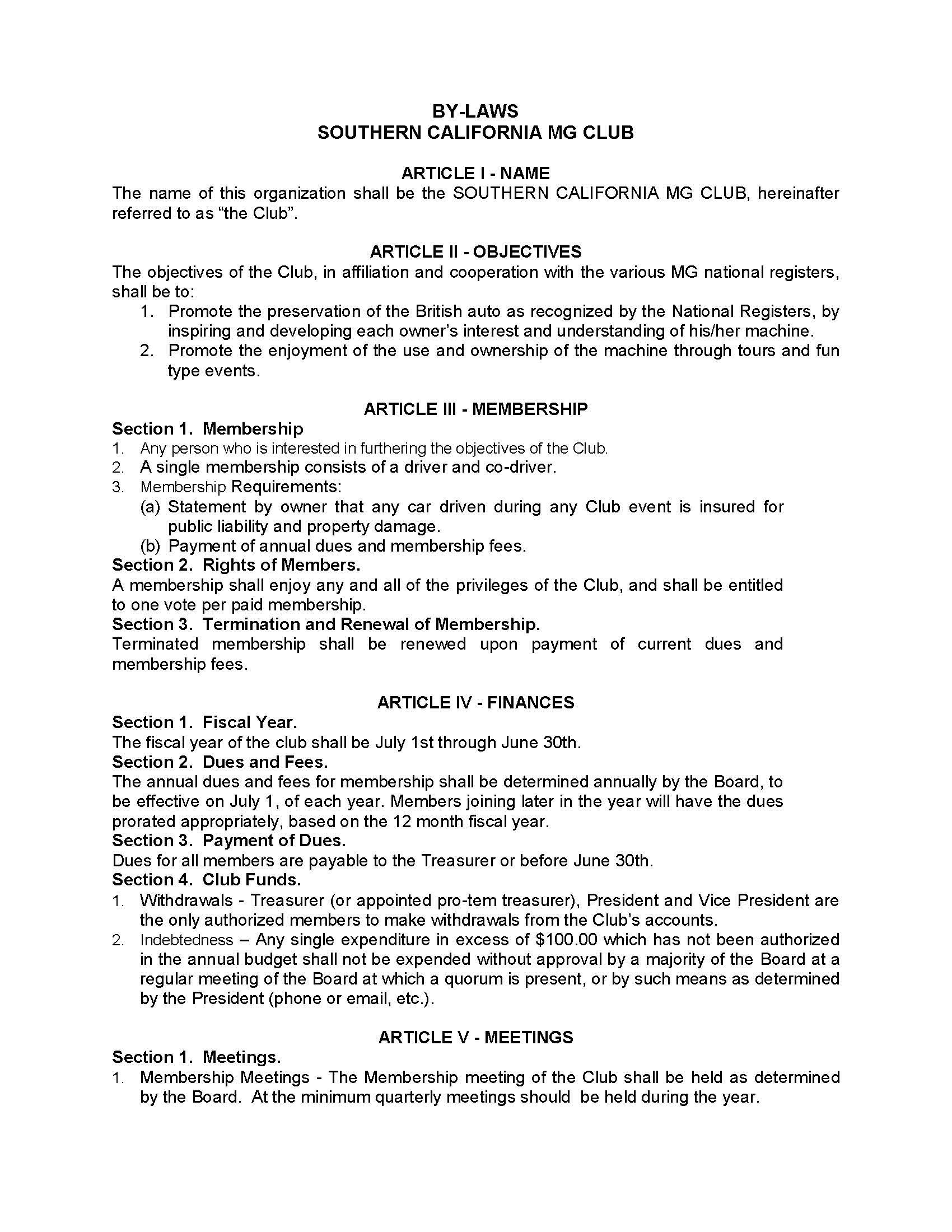 bylaws socal mg club
