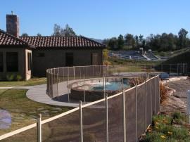 beige pool fencing