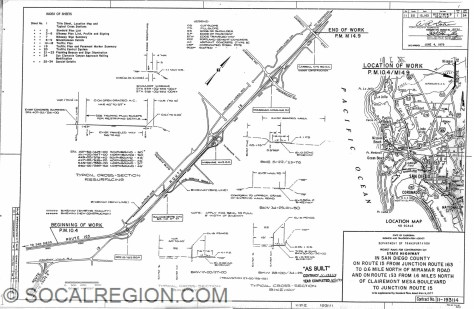 Cover sheet for the I-15 Bikeway. This shows where the bikeway was built on a new alignment from Harris Plant Road to Miramar Way.