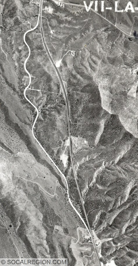 1956 aerial photograph showing the Mint Canyon Road and Sierra Highway. The 1921 concrete is quite visible in this photograph.