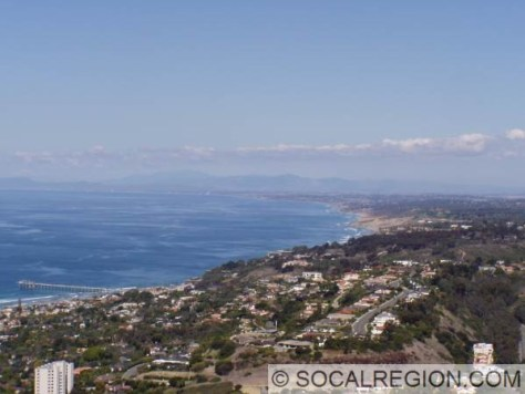 View northwards from Soledad Mountain. Encina Power Plant and Oceanside are visible in the distance. The pier that is visible is Scripps Pier.