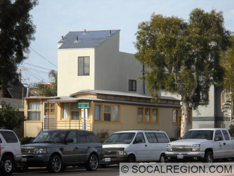 Former San Diego Electric Railway streetcar now used as a house on Mission Blvd at Venice Ct.
