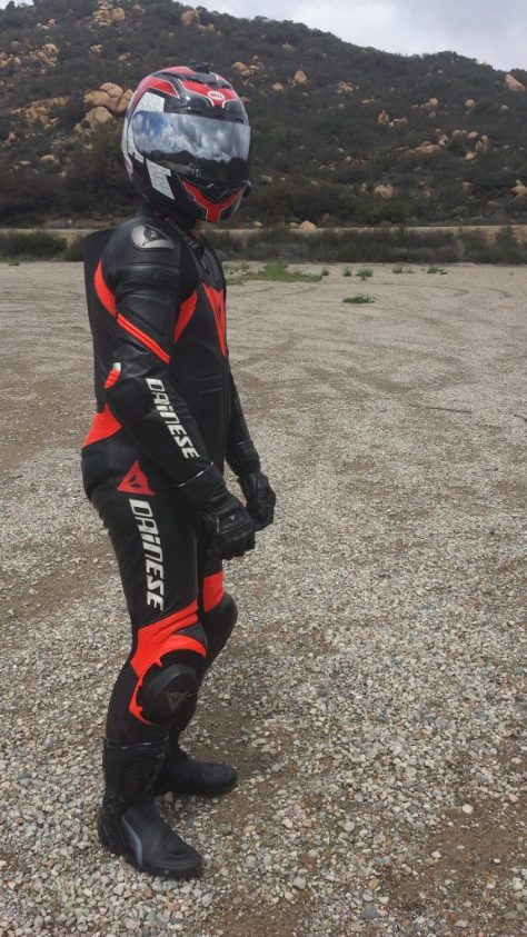 Dainese Laguna Seca Leather Suit with gloves, boots, and helmet.