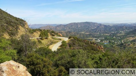 Mulholland Highway and the Santa Monica Mountains just east of Kanan Dume Road. Looking northerly toward the Santa Susana Mountains.