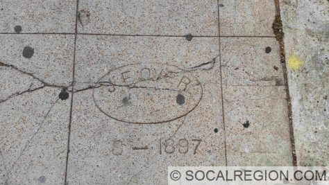 Sidewalk dating to May 1897 on Fifth Ave between Nutmeg St and Olive St in San Diego, CA.
