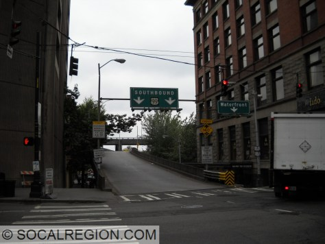 The last original US 99 shield in Washington in Seattle at 1st Ave and Columbia St.