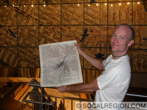 """The """"original"""" and the artwork. Map sheet being held is the Los Angeles 6' map."""