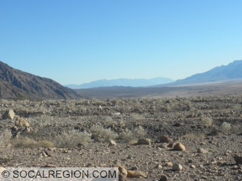 Looking south, down the valley towards Kit Fox Hills (at center).