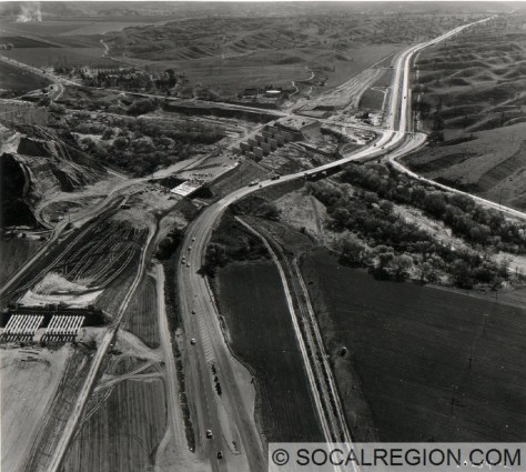1963 view of the construction of I-5 at Saugus Junction, looking southerly.