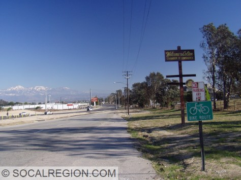 Colton welcome sign and old Valley Blvd.
