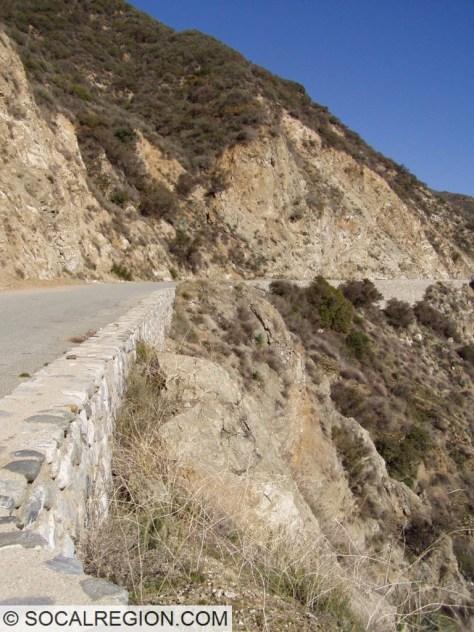 Stone railing along Shoemaker Canyon Road.