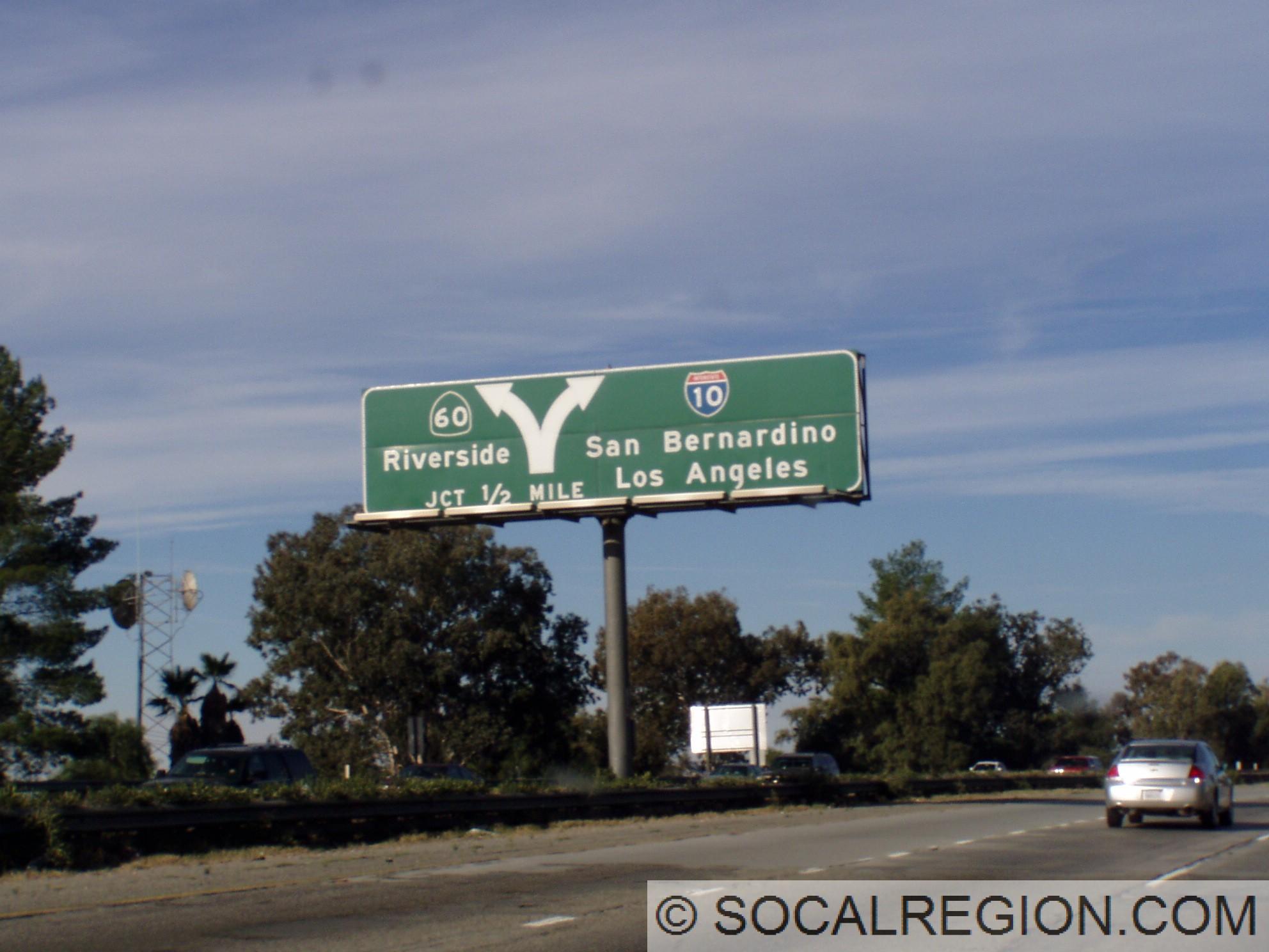 I 10 santa monica san bernardino redlands freeway southern a rare diagrammatic sign at the 60 split sciox Choice Image