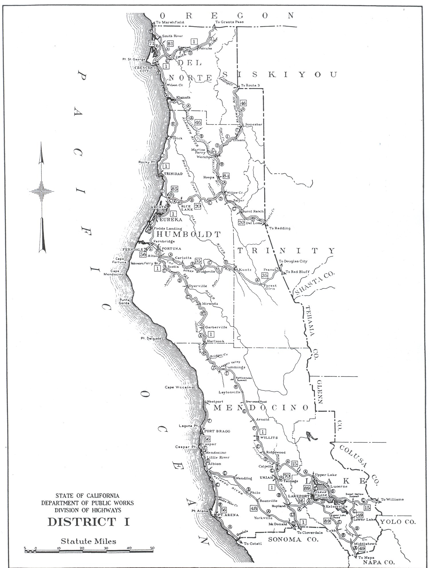Southern California Regional Rocks And Roads California Division Of Highways District Maps Caltrans 1947