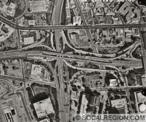 Four Level Interchange in 1998. US 101 goes left/right and SR-110 goes up/down.